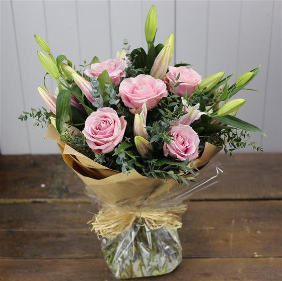 Oriental Lily and Pink Rose Bouquet